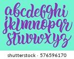 handwritten lettering font.... | Shutterstock .eps vector #576596170