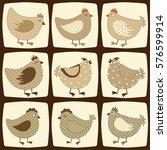 set of cute cartoon chicken | Shutterstock .eps vector #576599914