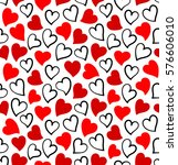 hearts seamless pattern in red... | Shutterstock .eps vector #576606010