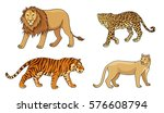 set of stylized vector big cats....   Shutterstock .eps vector #576608794