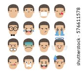set of boy face emoticons icon... | Shutterstock .eps vector #576611578