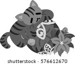 the pretty little cat and a... | Shutterstock .eps vector #576612670