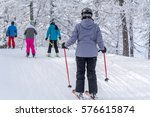 large view on the skiers in... | Shutterstock . vector #576615874