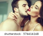 sexy passionate couple foreplay ... | Shutterstock . vector #576616168