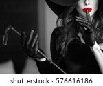 sexy dominant woman in hat and...   Shutterstock . vector #576616186