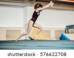 young girl athlete gymnast... | Shutterstock . vector #576622708