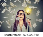 portrait happy woman in glasses ... | Shutterstock . vector #576623740
