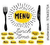 menu  fork  knife  lunch time.... | Shutterstock .eps vector #576631714