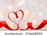 red heart with ribbon.... | Shutterstock . vector #576638950
