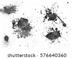 Black watercolor stain - stock vector