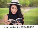 attractive student teen girl... | Shutterstock . vector #576640450