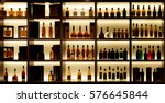 various alcohol bottles in a... | Shutterstock . vector #576645844