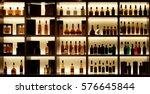 various alcohol bottles in a... | Shutterstock . vector #576645844
