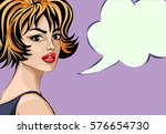 pin up style beautiful woman... | Shutterstock .eps vector #576654730