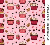seamless pattern with cupcakes  ... | Shutterstock .eps vector #576659650