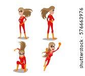 superhero woman actions... | Shutterstock .eps vector #576663976