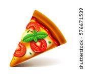 margarita pizza slice isolated... | Shutterstock .eps vector #576671539