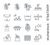 Set Of Thin Line Icons Coffee...