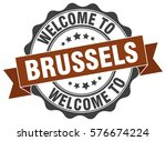 brussels. welcome to brussels... | Shutterstock .eps vector #576674224