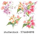 set of watercolor tropical... | Shutterstock . vector #576684898