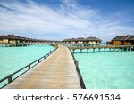wooden water bungalows  maldives | Shutterstock . vector #576691534