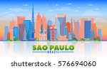 sao paulo  brazil  skyline with ... | Shutterstock .eps vector #576694060