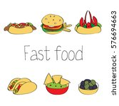 american and mexican fast food. ... | Shutterstock .eps vector #576694663