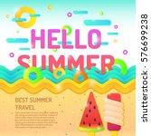 vector poster hello summer and... | Shutterstock .eps vector #576699238