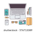 flat line workplace concept.... | Shutterstock .eps vector #576713389