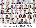 collage of smiling multiethnic... | Shutterstock . vector #576716824