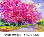 painting watercolor landscape... | Shutterstock . vector #576717538