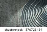metal spiral on a cement... | Shutterstock . vector #576725434