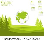 globe and trees on the green... | Shutterstock .eps vector #576735640