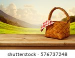 picnic basket with checked... | Shutterstock . vector #576737248