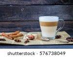 hot latte macchiato coffee with ... | Shutterstock . vector #576738049