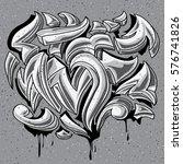 black and white graffiti curls   Shutterstock .eps vector #576741826