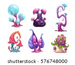 beautiful fantasy mushrooms set.... | Shutterstock .eps vector #576748000
