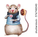 cute cartoon mouse drinking tea ... | Shutterstock . vector #576748540
