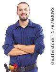 portrait of a smiling worker ... | Shutterstock . vector #576760093