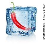 chili pepper in ice cube... | Shutterstock . vector #576771760