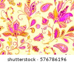 hand drawn flower seamless... | Shutterstock . vector #576786196