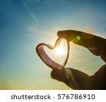 silhouette of heart shape in... | Shutterstock . vector #576786910