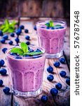 blueberry smoothie with mint in ... | Shutterstock . vector #576787648