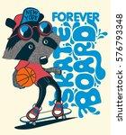 cool  raccoon skater vector  | Shutterstock .eps vector #576793348