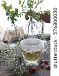 hot tea with dried roses and... | Shutterstock . vector #576800050