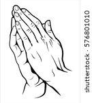 human hands folded in prayer | Shutterstock .eps vector #576801010