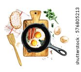 eggs and sausages in a frying... | Shutterstock . vector #576805213