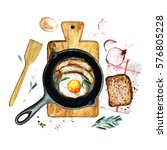 eggs and sausages in a frying... | Shutterstock . vector #576805228