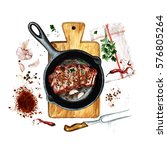 ribs in a frying pan.... | Shutterstock . vector #576805264