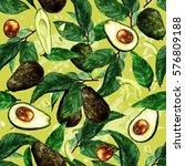 avocados seamless pattern.... | Shutterstock . vector #576809188